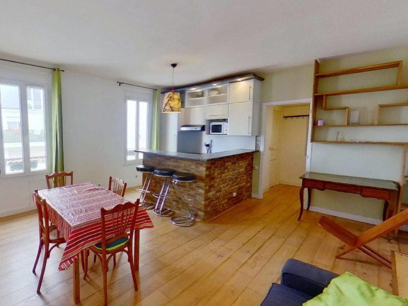 location appartement alfortville: 2 pièces 45 m², séjjour aménagé, cuisine ouverte