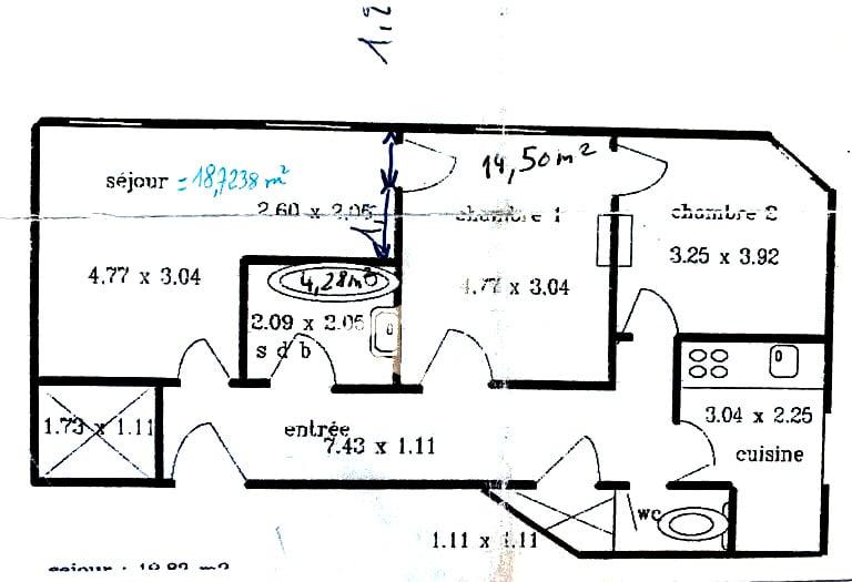immobilier à vendre: appartement 3 pièces 68 m², le plan détaillé du bien