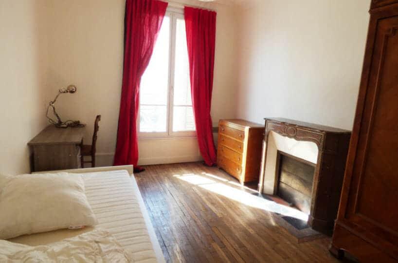 appartement à louer maisons alfort: 3 pièces, première chambre meublée avec cheminée