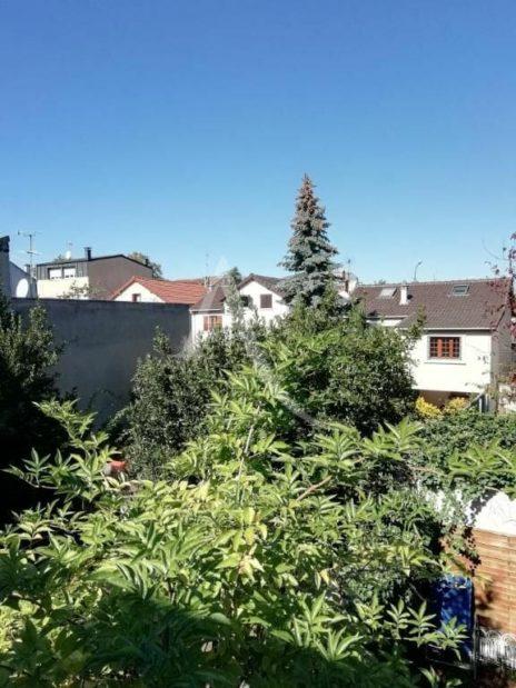 immobilier à vendre: maison 8 pièces 218 m², vue du premier étage sur le voisinage et verdure du jardin