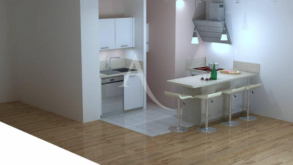 agence immobilière val de marne: 2 pièces 44 m², plan d'architecte - vue sur la cuisine ouverte équipée