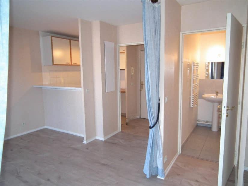 appartement alfortville: location studio 31 m² avec séjour ouvert sur cuisine aménagée, salle d'eau