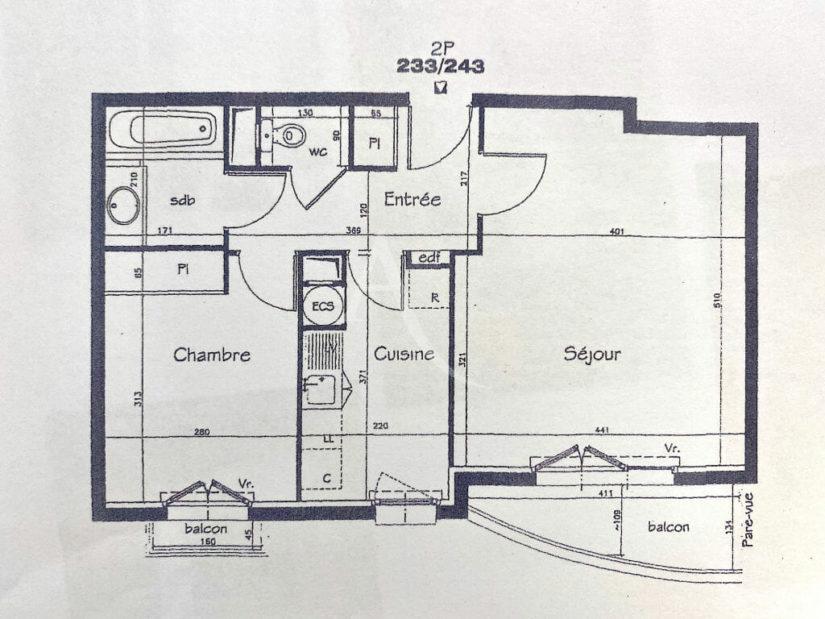 vente appartement 2 pieces charenton: 2 pièces 52 m², plan détaillé de l'appartement