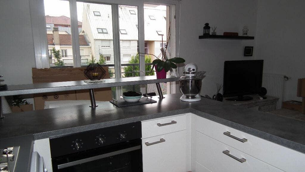 agence immobiliere alfortville: duplex 3 pièces 68 m², cuisine équipée donnant sur séjour