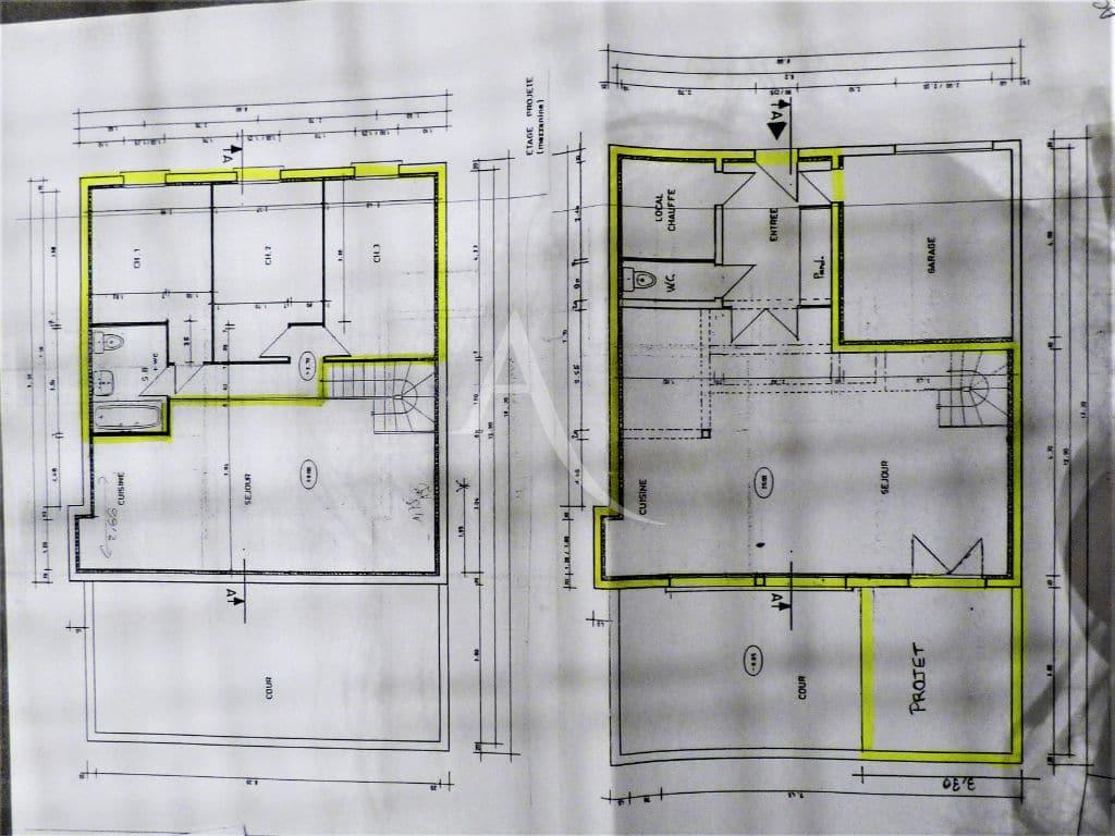 94 immobilier: maison 5 pièces 102 m², plan d'architecte de la maison sur les deux niveaux