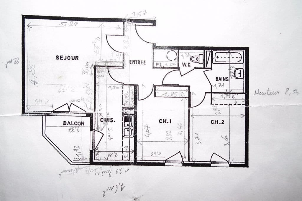 appartement à vendre à charenton le pont: 3 pièces 68 m², plan détaillé de l'appartement