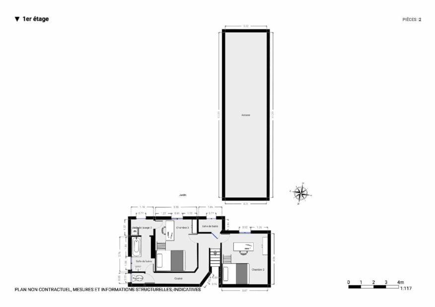 immobilier à vendre: maison 9 pièces 200 m², plan détaillé du 1° étage