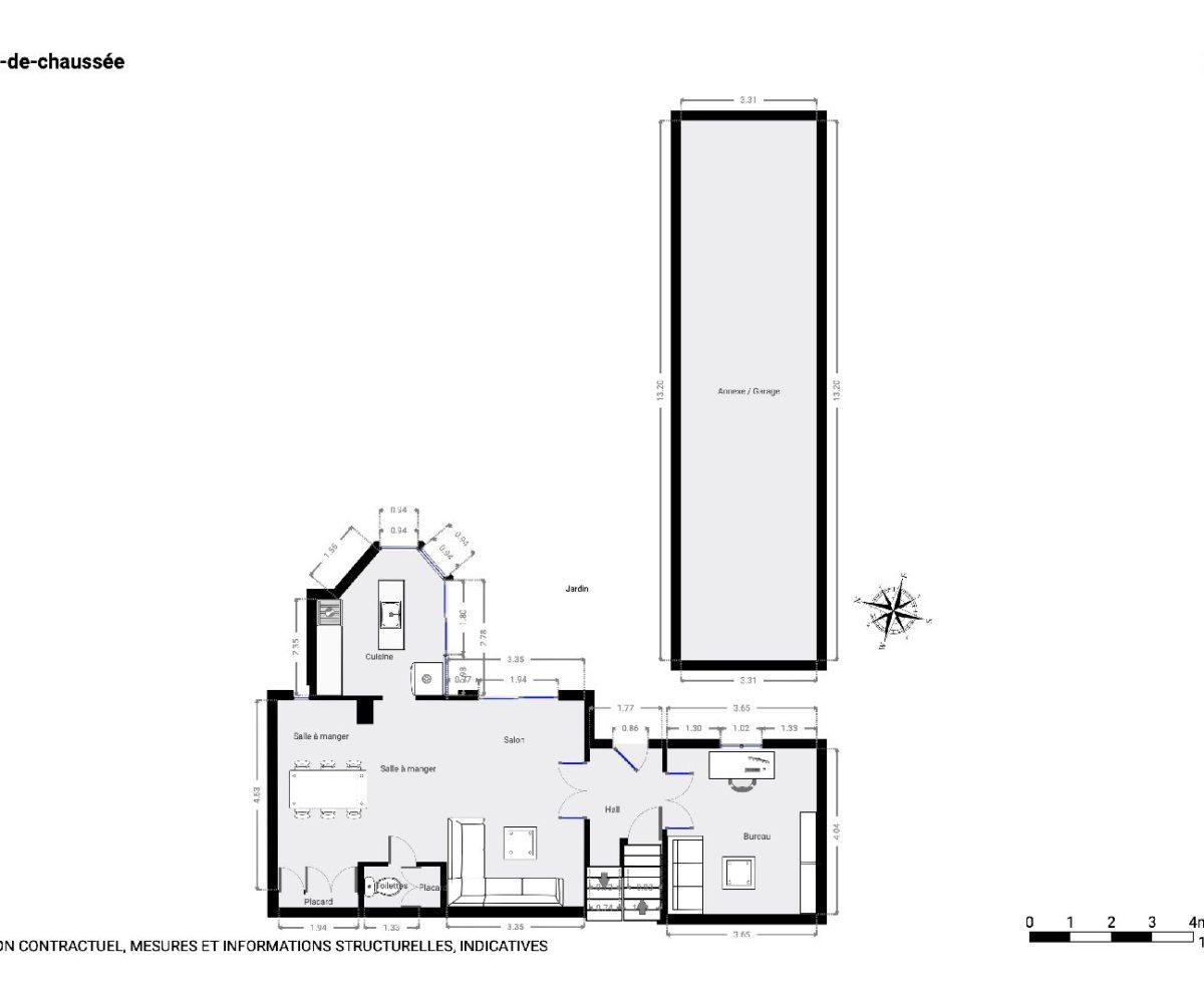 maison à vendre maison alfort: maison 9 pièces 200 m², plan détaillée du rez-de-chaussée