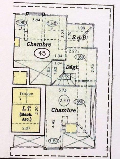 immobilier 94: à vendre 3 pièces 74 m², plan détaillé de l'appartement