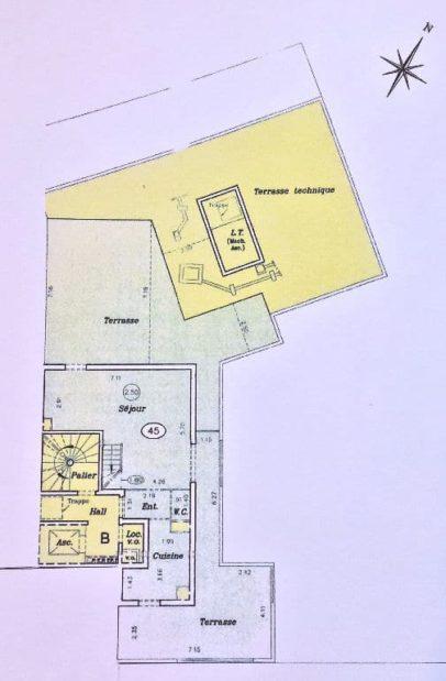 immo 94: 3 pièces 74 m², plan détaillé de l'appartement et des 2 terrasses