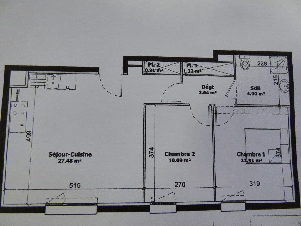 appartement à vendre maisons-alfort: 3 pièces 59 m², plan détaillé