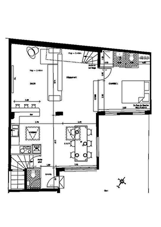 appartement maison alfort: appartement loft 4 pièces 93 m² plan détaillé du rdc