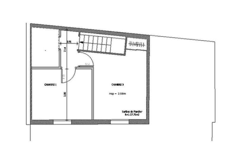 vente appartement maison alfort: loft 4 pièces 93 m², plan détaillé du 1° étage