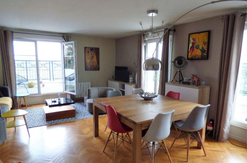 achat appartement alfortville: 4 pièces 87 m², séjour avec terrasse vue sur la seine