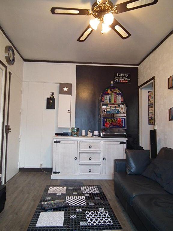 vente appartement 2 pieces alfortville: séjour, ventillateur de plafond avec lampe