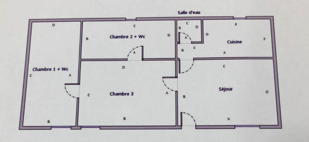 vente appartement charenton le pont: 2 pièces 45 m², plan des différentes pièces