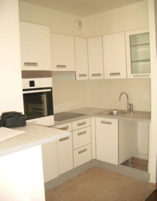 vente appartement alfortville: 28 m², cuisine aménagée et équipée d'un four et plaques électriques