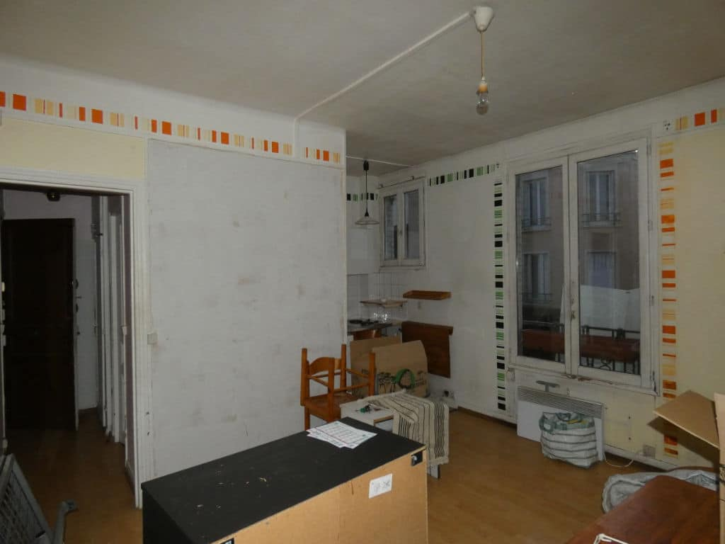 vente appartement alfortville: 21 m², cuisine ouverte sur la pièce à vivre