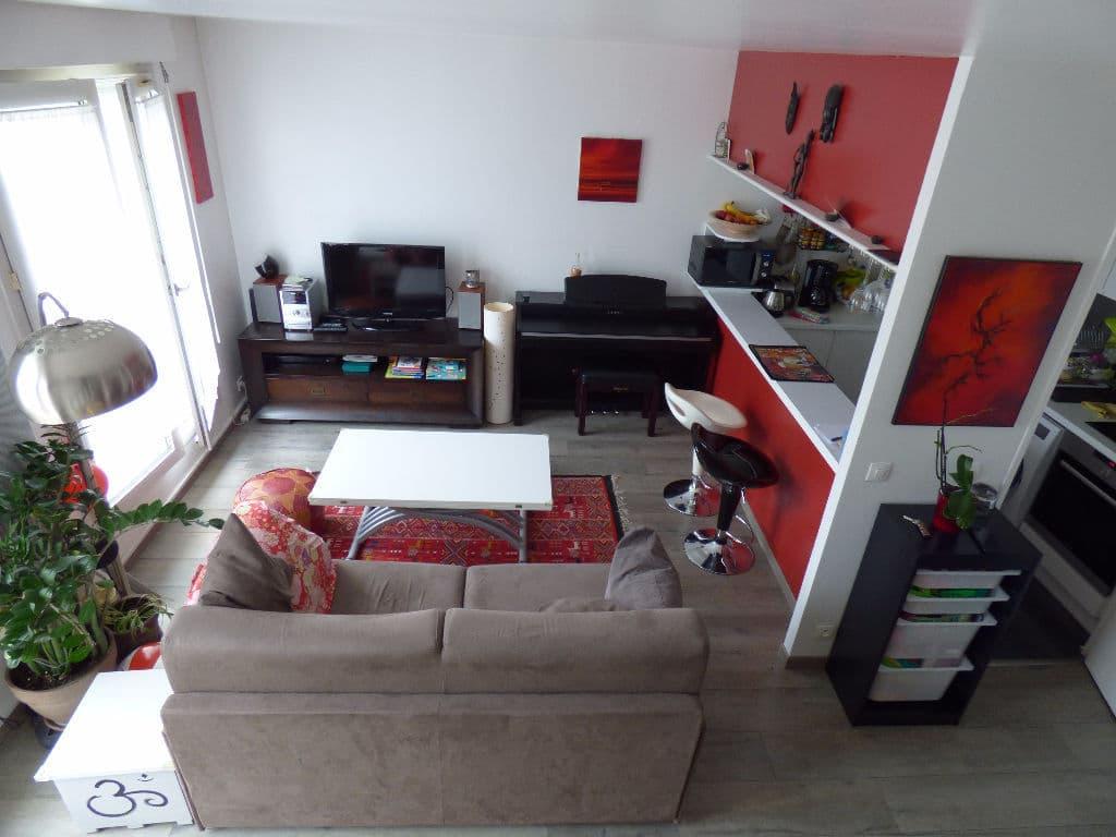 achat appartement alfortville: 3 pièces 48 m² (carrez), pièce à vivre avec terrasse