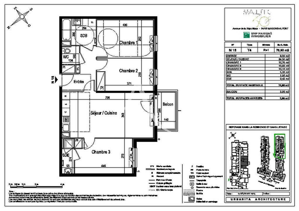appartement maison alfort: 4 pièces 77 m², plan détaillé de l'appartement