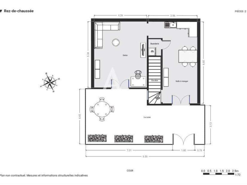appartement à vendre charenton-le-pont: 4 pièces 90 m², plan détaillé du rez de chaussée