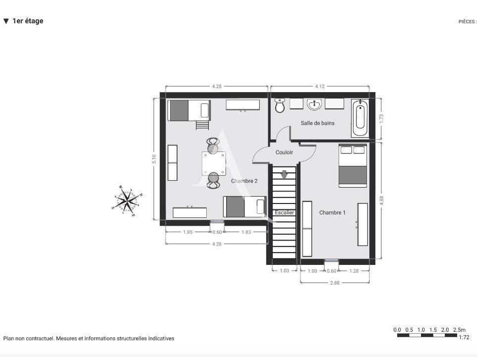 appartement à vendre à charenton le pont: 4 pièces 90 m², plan détaillé du 1° étage