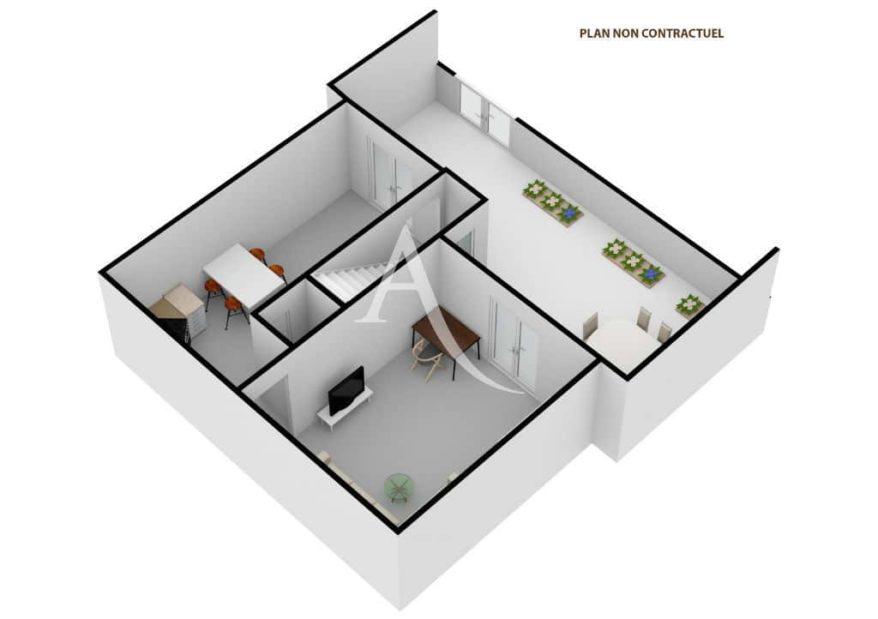 vente appartement charenton le pont: 4 pièces 90 m², plan en 3d