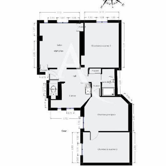 achat vente appartement: 4 pièces 69 m², à paris, plan d'architecte