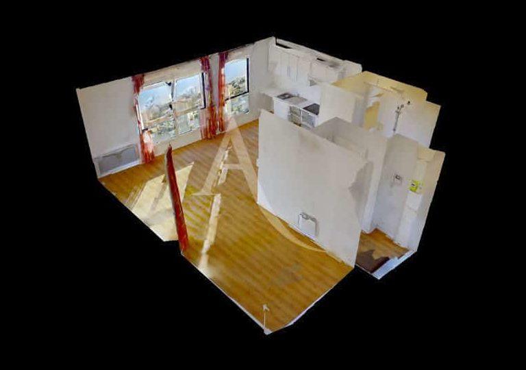 agence immobilière val de marne: très grand studio 36 m², plan détaillé, alforville