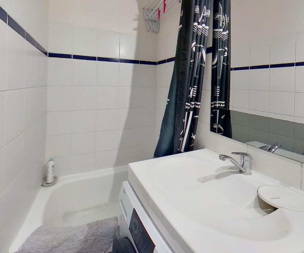 appartement charenton le pont: studio 19 m², salle de bains avec meuble vasque