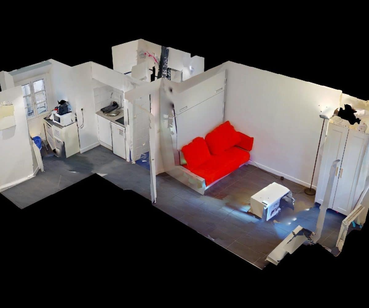 studio charenton le pont: studio 19 m², maquette plan 3d