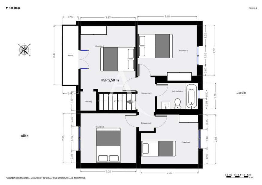 vente maison à maisons-alfort: 6 pièces 87 m², plan d'architecte détaillé à l'étage