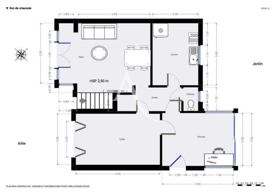 faire gerer maisons-alfort: 6 pièces 87 m², plan d'architecte détaillée rez-de-chaussée