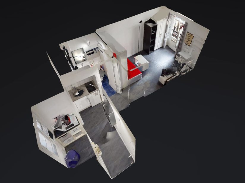 studio charenton le pont: 19 m² proche métro et bois de vincennes, vue plan 3d