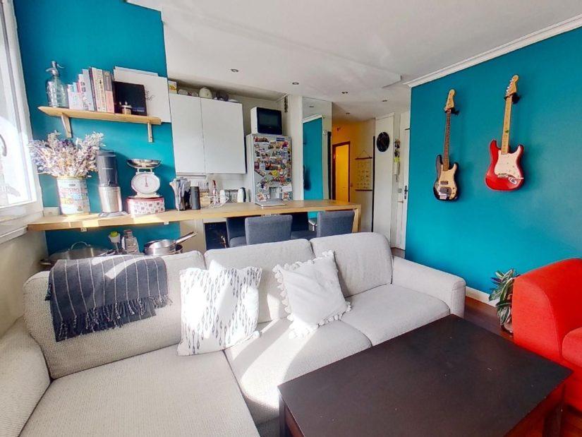 achat appartement charenton le pont: 3 pièces 50 m², séjour avec cuisine ouverte