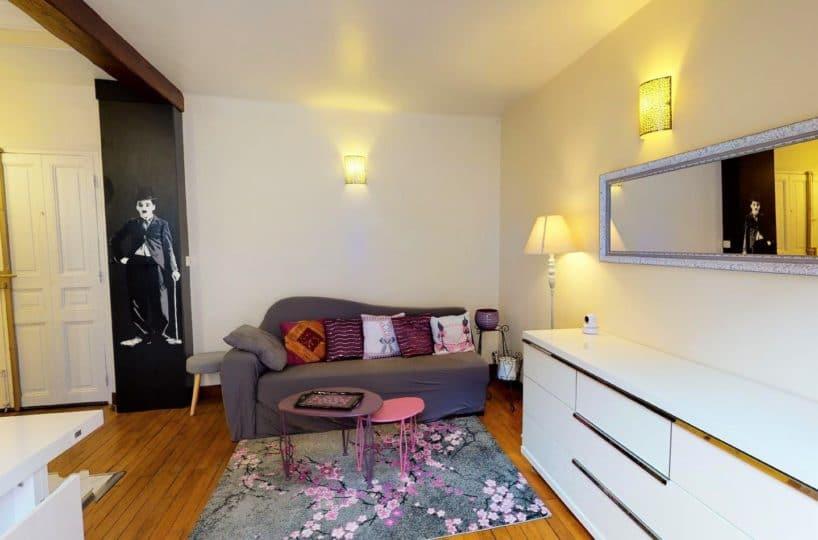 agence immo alfortville: 2 pièces meublé 35 m² rue paul vaillant couturier, séjour ouvert sur cuisine