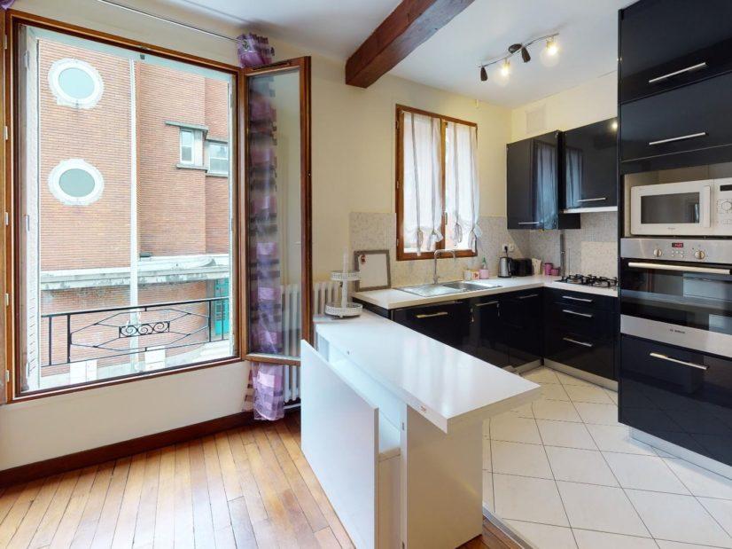 appartement a louer alfortville: 2 pièces 35 m², cuisine ouverte sur séjour, table haute