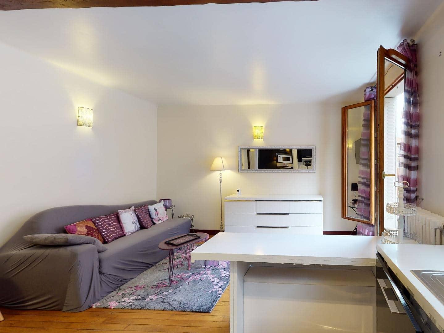 agence alfortville: 2 pièces 35 m², joli séjour meublé avec goût, cuisine ouverte