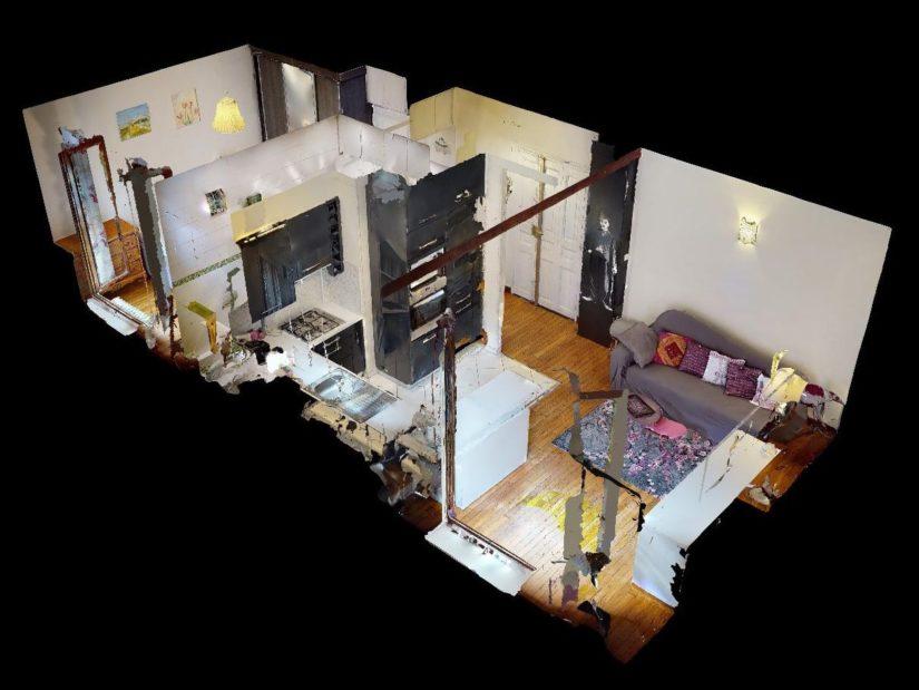 agence de location appartement: 2 pièces 35 m², maquette, vue 3d