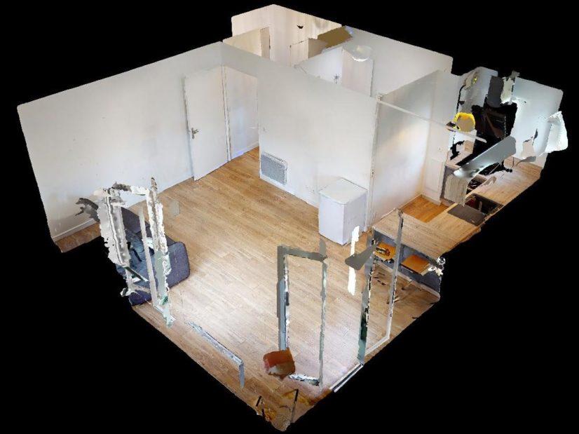 location immobiliere maisons alfort: meublé 33 m², plan au sol du studio en 3d