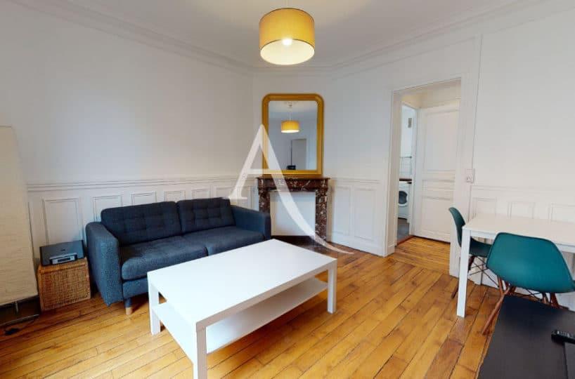 appartement charenton le pont: loue 2 pièces meublé 33 m², sejour avec cheminée décorative, balcon