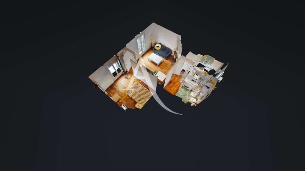 appartement location charenton le pont: 2 pièces en parfait état, bien agencé, plan en 3d