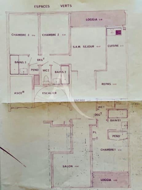 appartement à vendre à charenton-le-pont: 5 pièces 84 m², plan détaillée