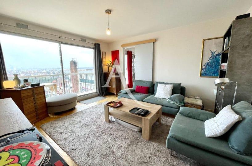 vente appartement maisons alfort: 3 pièces 60 m², séjour, terrasse vue sur la tour eillel