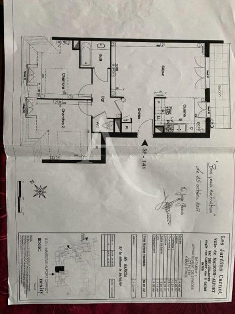 agence immobilière maisons-alfort: 3 pièces 68 m², plan détaillé de l'appartement