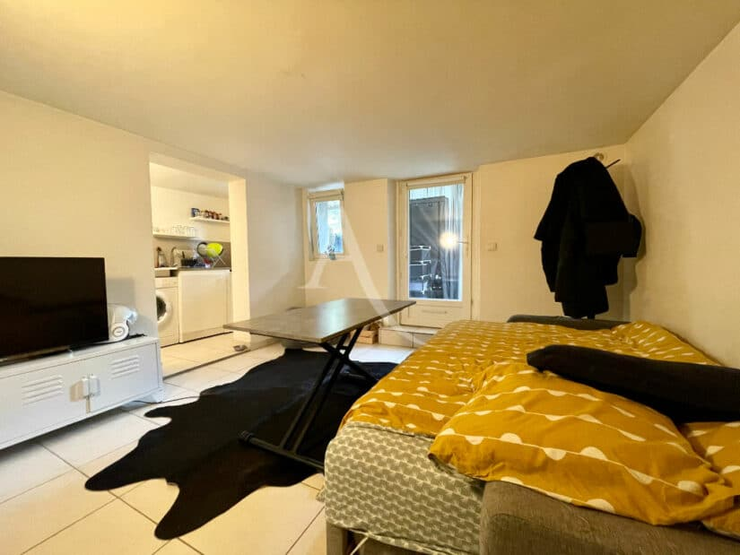 agence immobilière alfortville: 20 m², pièce à vivre avec lit double, table, téléviseur