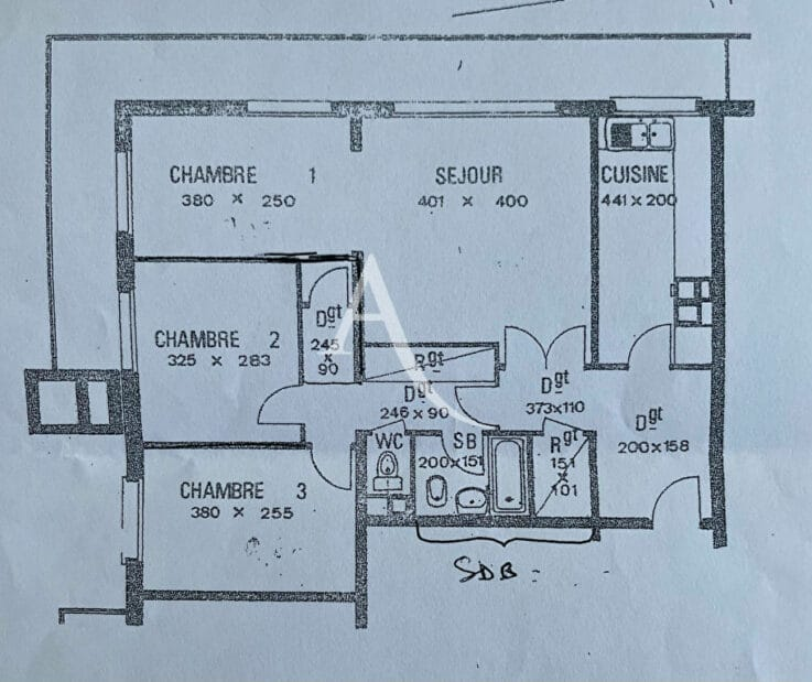 agence immo maisons alfort: 4 pièces 73 m², plan au sol de l'appartement