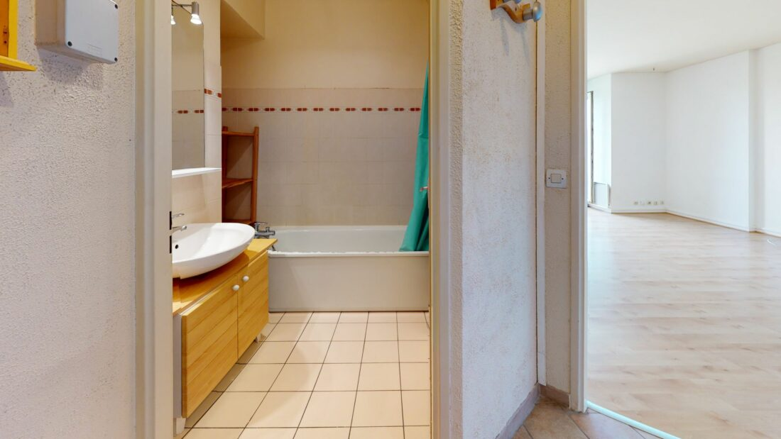 location appartement 94: 37 m², entrée ouvrant sur la salle de bains et le séjour