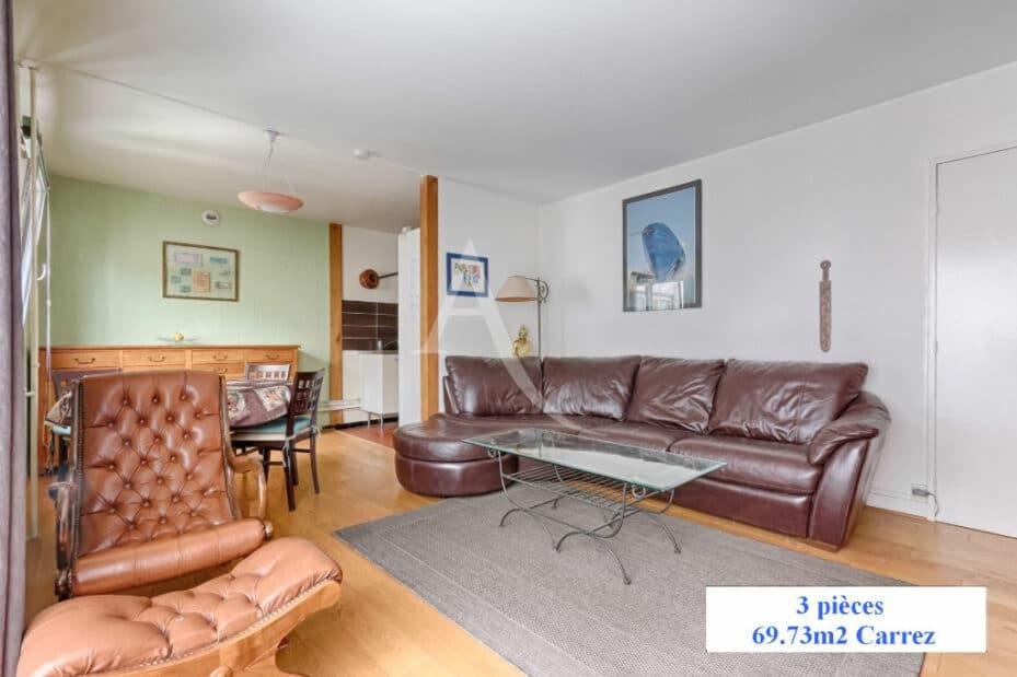 appartement à vendre à charenton: 3 pièces 70 m², séjour avec espace repas et cuisine ouverte